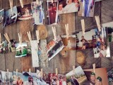 Family photos on a wood wall