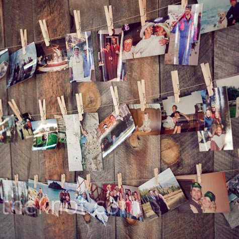 Family photos on a wood wall