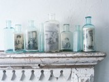 Family photos in bottles