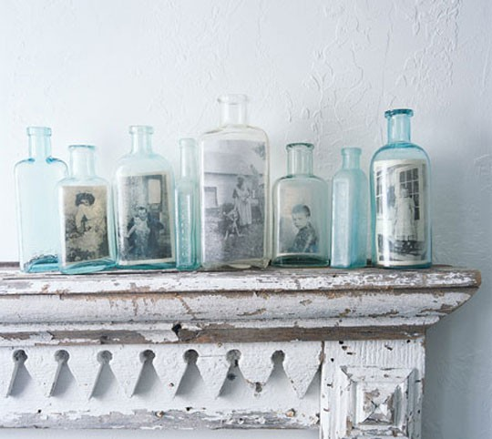 Family photos in bottles