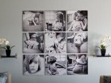 Square contemporary photo on canvases display