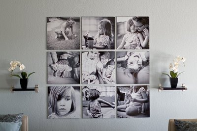 Square contemporary photo on canvases display (via myhomespiration)