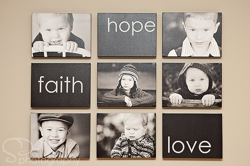 Modern and creative kids photo display