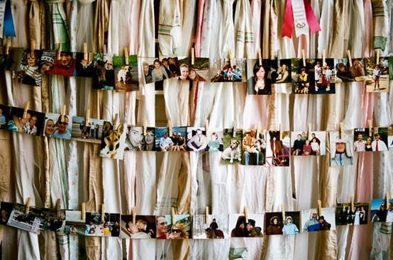 Family photos on clothspins