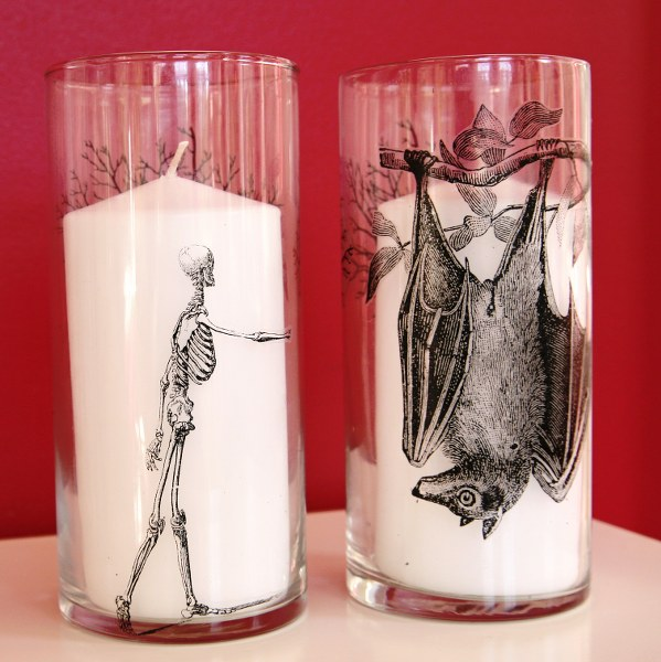spooky glass candleholders