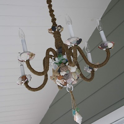 DIY Rope Chandelier Covered With Sea Sheels (via thepleatedpoppy)