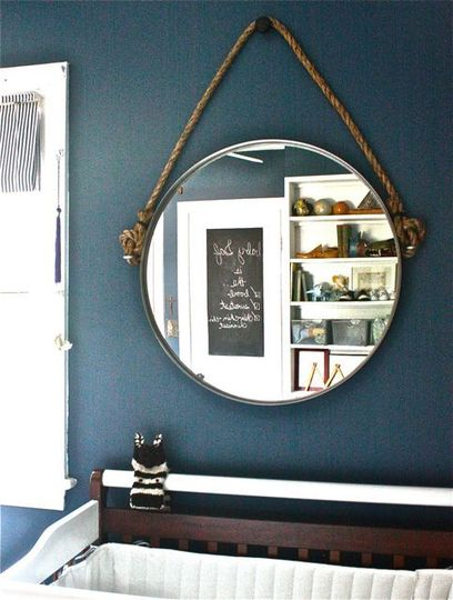 diy rope mirror of an ikea mirror via apartmenttherapy