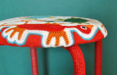 Colorful DIY Freeform Crocheted Marius Stool (via ikeahackers)