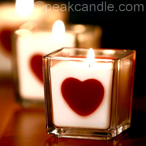 Homemade Valentine's Day Heart Embed Candles (via candletech)