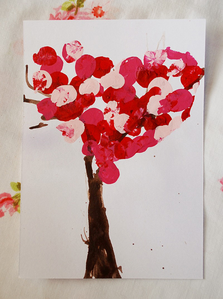 DIY Valentine's Day Tree Painted By Kids
