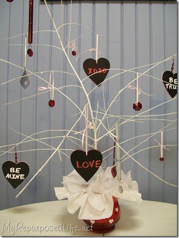 Spray Painted Homemade Valentine Tree