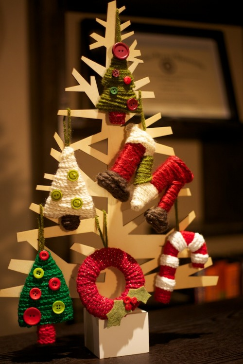 Handmade Cardboard Christmas Tree Ornaments (via christymeyer)