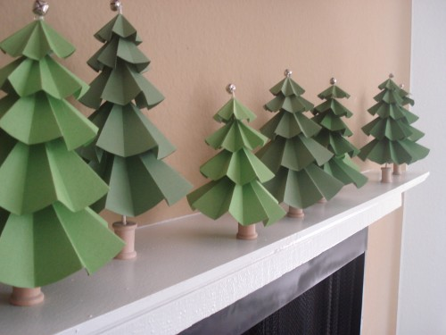 DIY Tabletop Christmas Trees Of Craft Paper (via elizabethannedesigns)