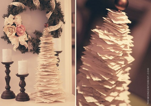 DIY Anthropologie Inspired Printed Paper Pine Tree (via thewonderforest)