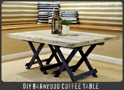 Cool DIY Reclaimed Barn Wood Coffee Table (via infarrantlycreative)