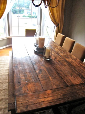 DIY Farmhouse-Style Reclaimed Dining Table (via blog )