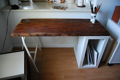 DIY Reclaimed Wood Desk With IKEA Storage (via ikeahackers)