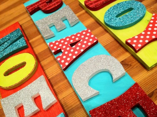 Colorful holiday signs