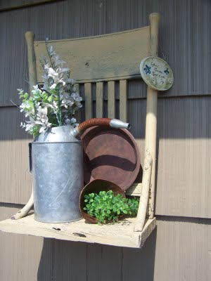 Old Chair Turned Into Garden Shelf
