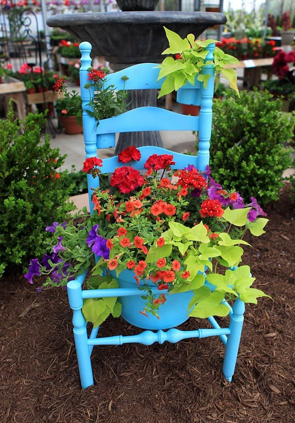 Turn your old chair into a garden treasure
