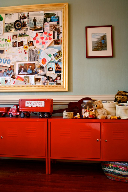 Picture Of Red Metal Lockers As A Cupboard For A Kids Room