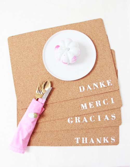 'Thank you' placemats (via abubblylife)