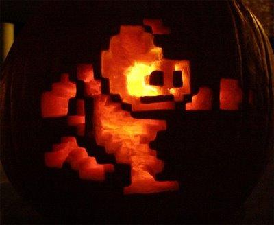 8 Bit Mega Man Pumpkin