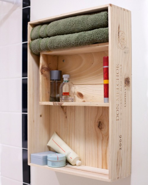 diy wine crates bathroom shelf (via shelterness)