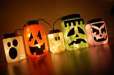 Assorted glass jars, colored tissue paper, Mod Podge and acrylic paint are things you need to make these beautiful glowing jack-o-lanterns. DIY Glowing Monster Jars