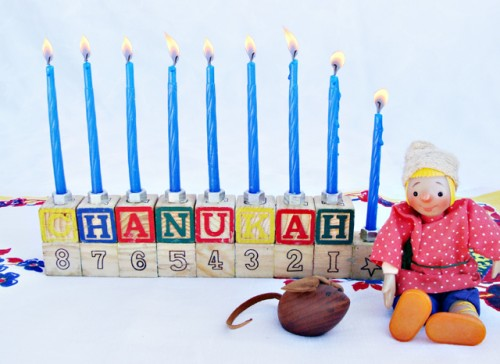 DIY Hanukkah Menorah From Alphabet Blocks (via creativejewishmom)