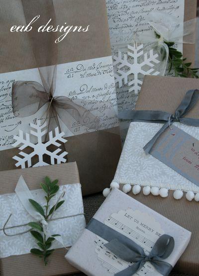 DIY Kraft Paper Gift Wrap Ideas (via eabdesigns)
