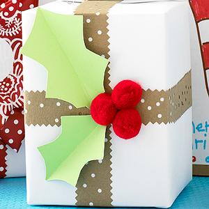 Holly Leaf Gift Wrap (via parents.com)