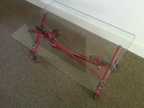 Coffee Table Made of Pipe Wrenches and Glass