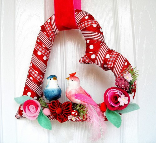Red Ribbon Heart Wreath