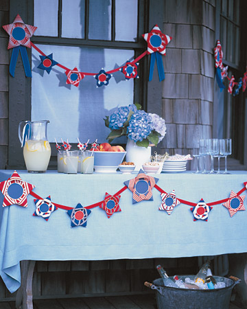 Red, White, And Blue Ribbon Stars Garland