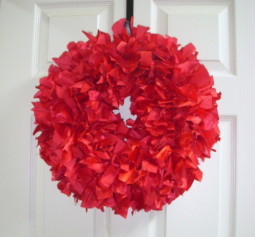 Shabby Chick Recycled Red Rag Fabric Wreath