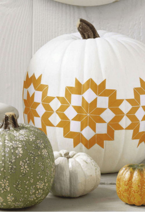 Star Quilt Pattern Decoupage Pumpkin