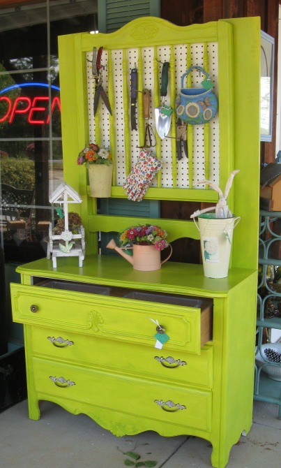 Vintage Dresser Turned Into Potting Shed