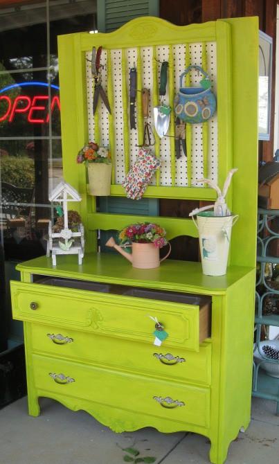Vintage Dresser Turned Into Potting Shed
