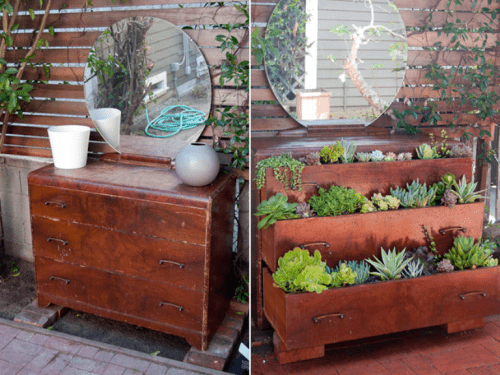 A Dresser Repurposed0into A Home Garden