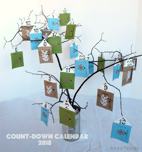 branches in a tin can advent calendar (via mayamade)