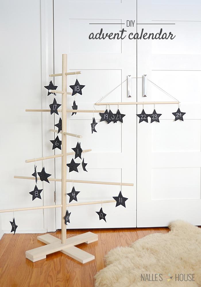 wooden tree advent calendar