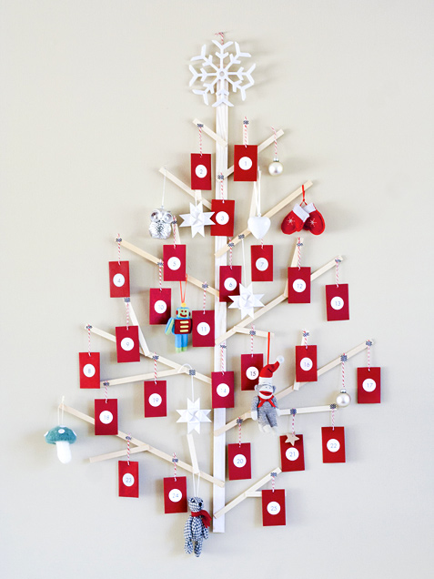 wooden planks advent tree (via ivillage)