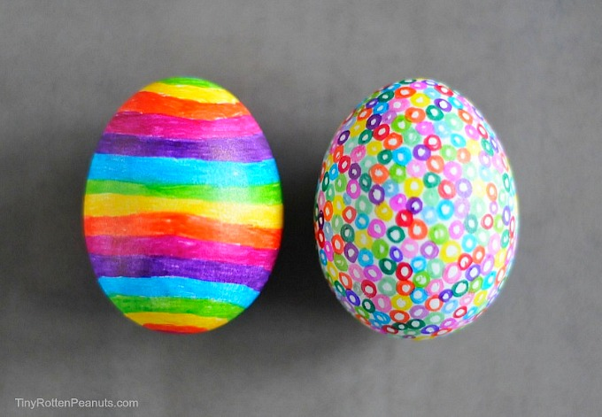 colorful sharpie Easter eggs