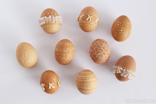 lace and sharpie eggs