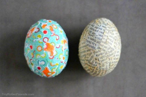paper collage Easter eggs (via tinyrottenpeanuts)
