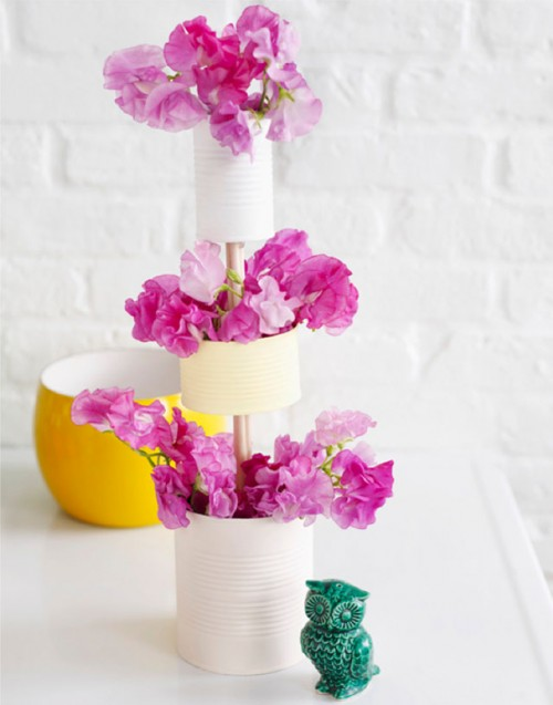tiered tin can vase