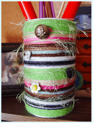 yarn and buttons tin can vase (via nuckinfutsknitter)
