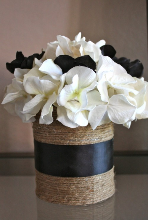 twine and ribbon tin can vases (via adventuresinmotherhoodandcreativity)