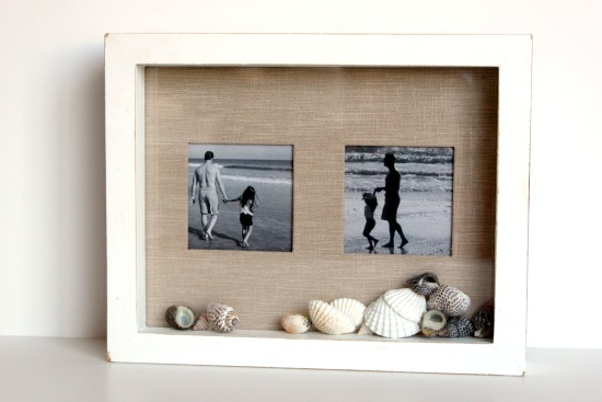 simple photo frame with shells inside